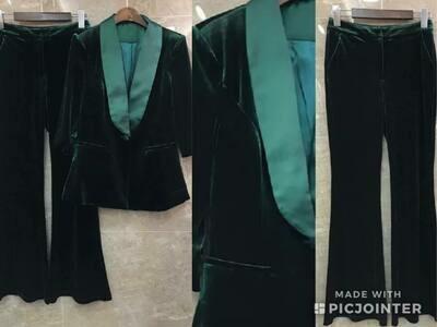 Green Velvet pantsuit