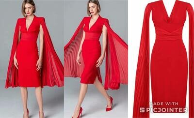 Red Flutter sleeve dress