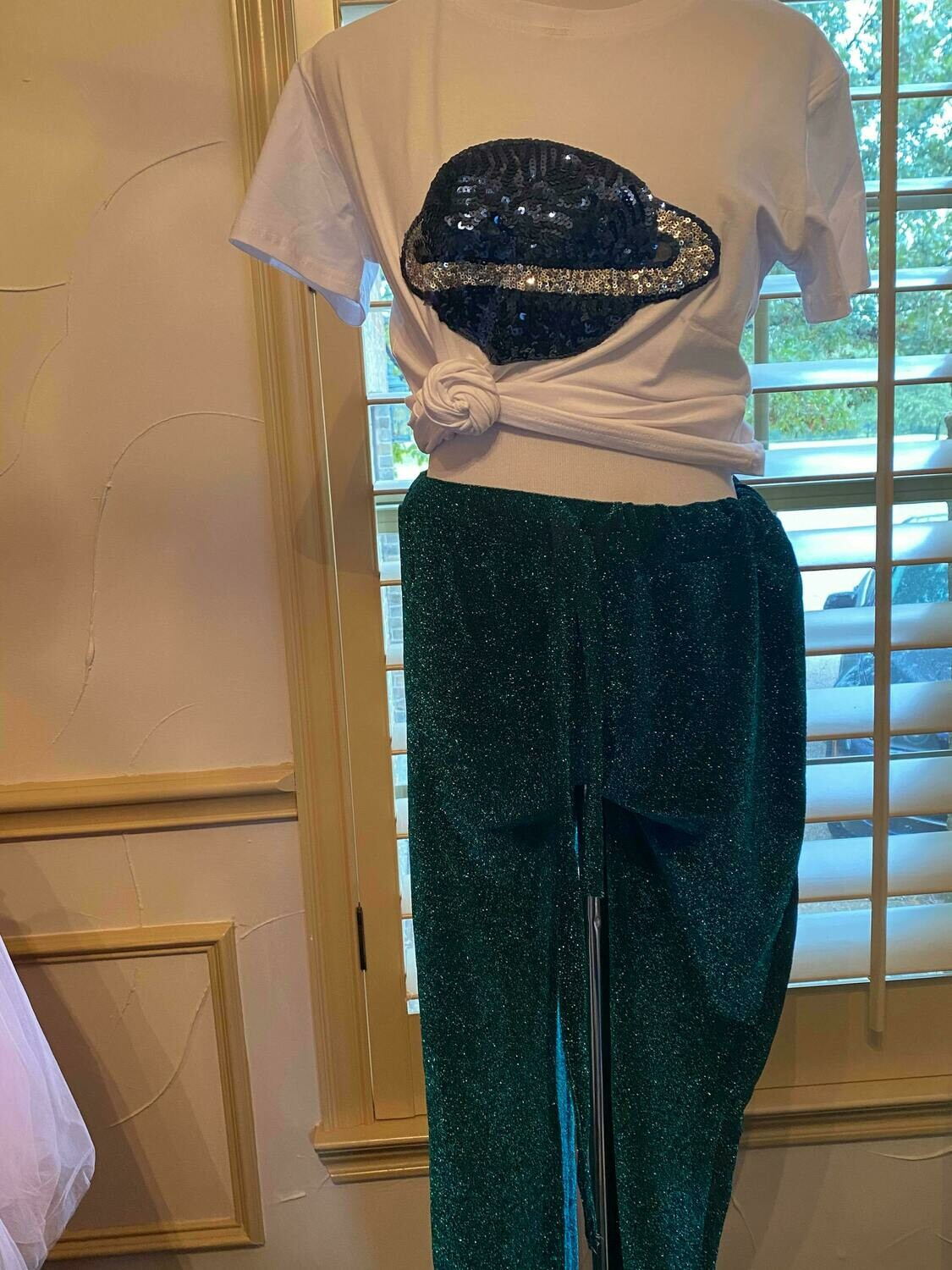 Green Sparkly pants only size medium