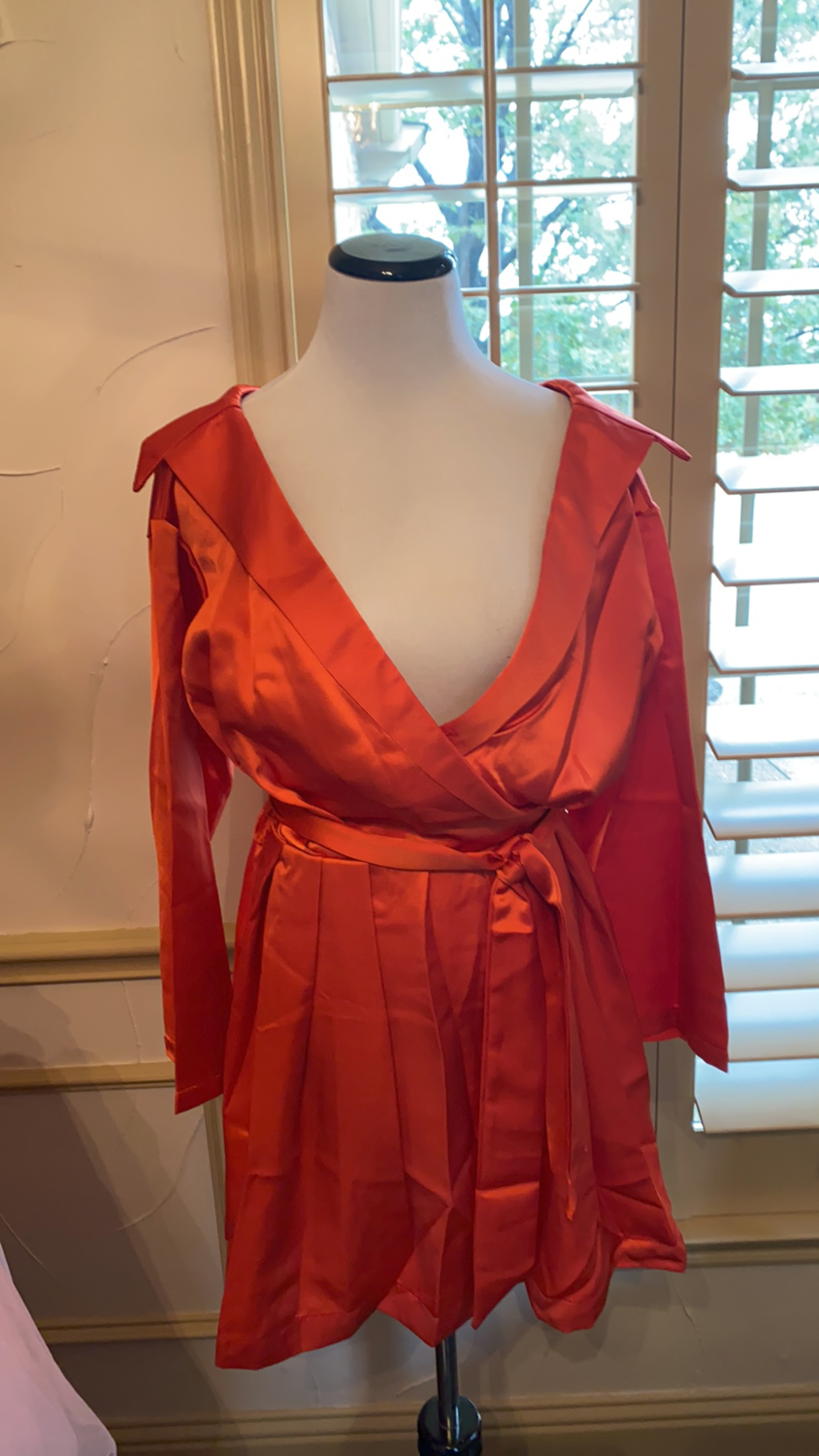 ONLY ONE Red satin off shoulder fashion dress