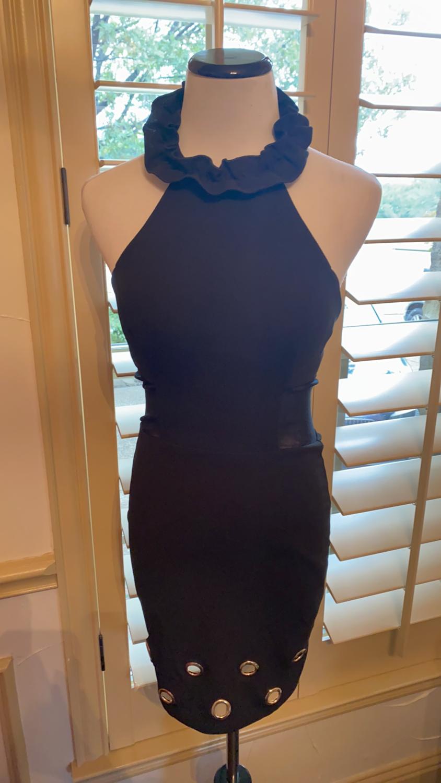 Black ruffle halter dress