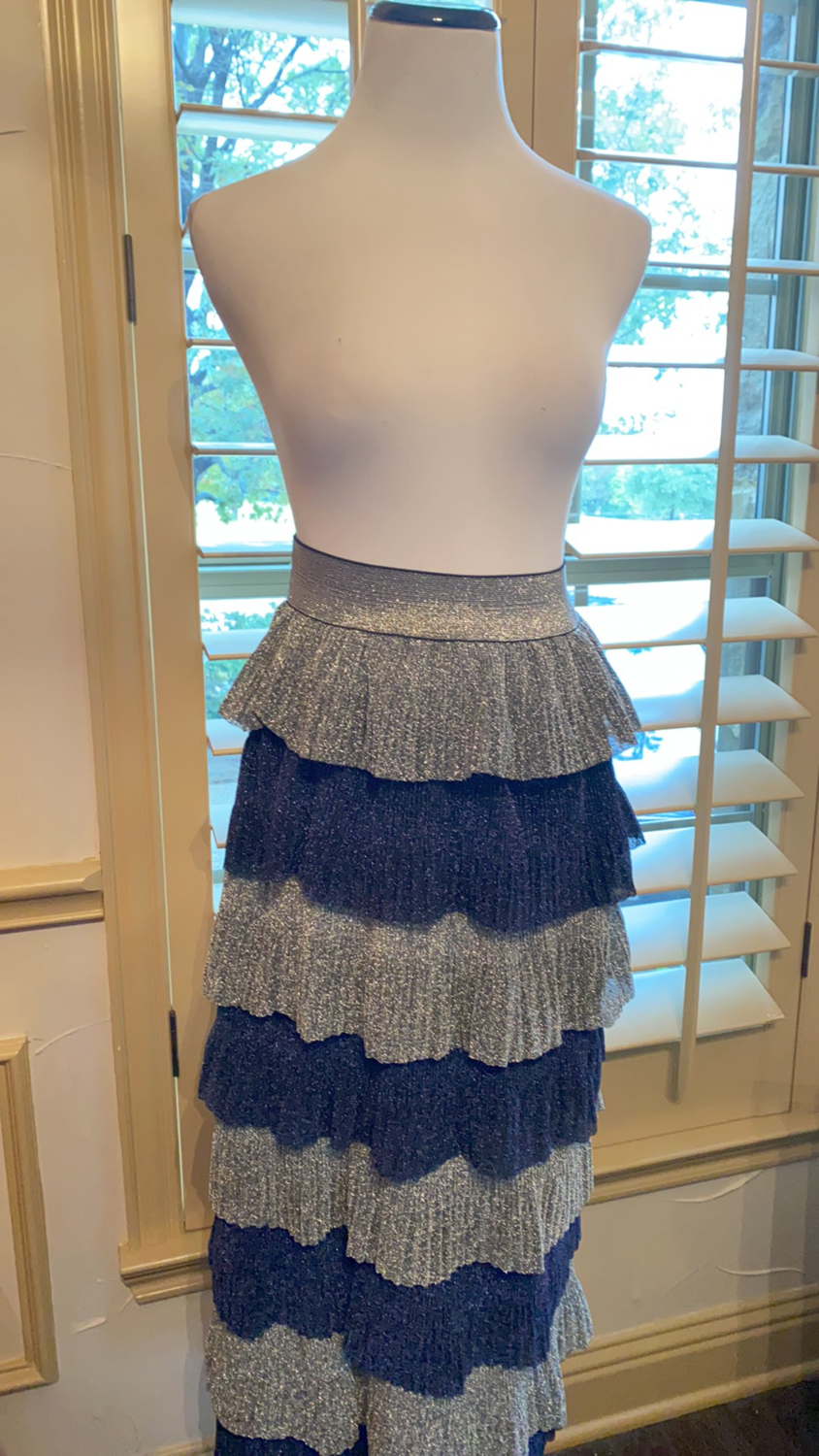 ONLY ONE Long silver and midnight blue skirt