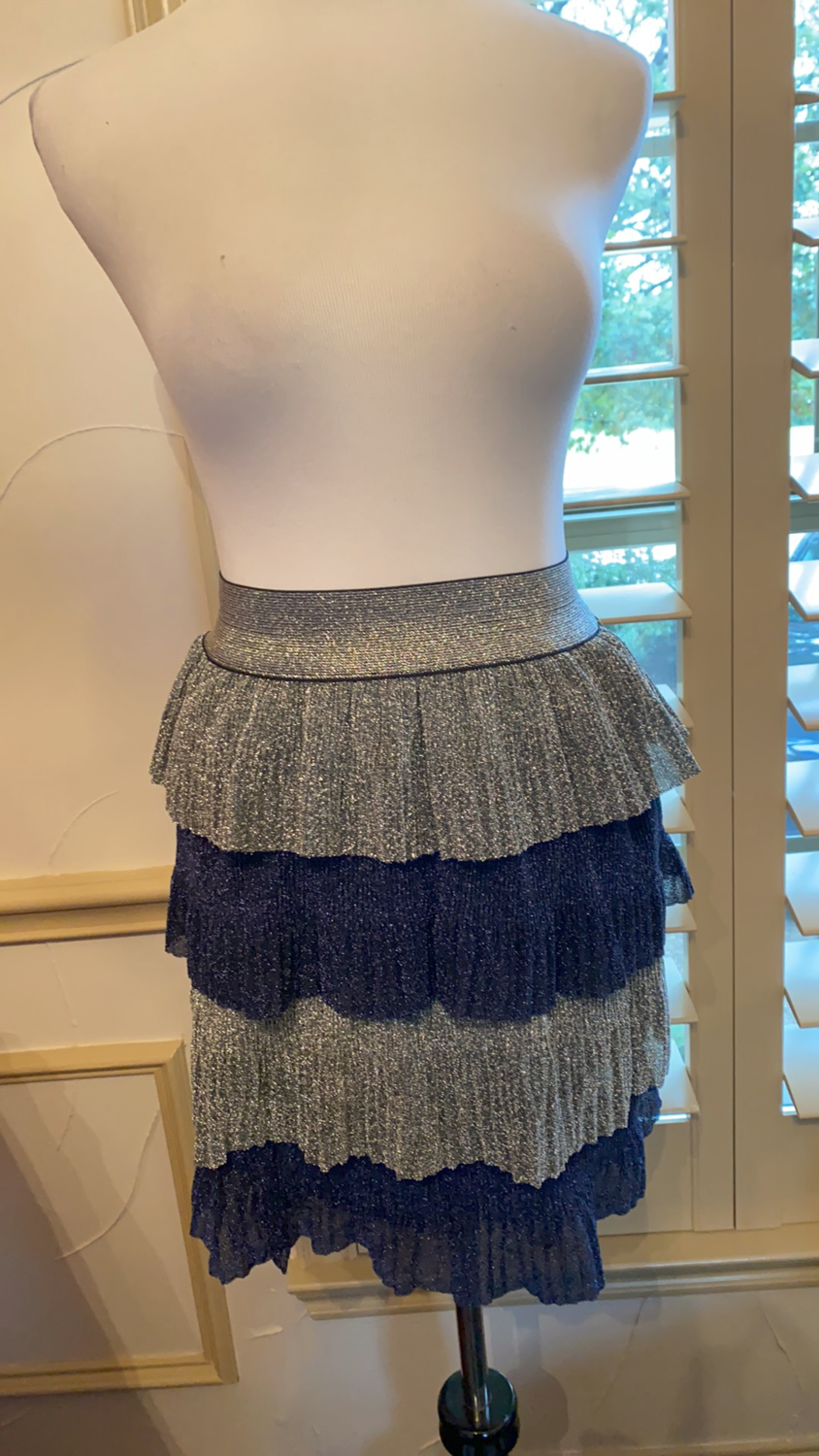 ONLY ONE Short midnight blue and silver skirt