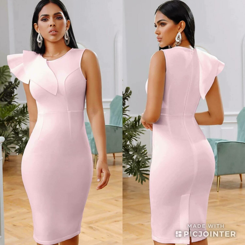 Pink ruffle scuba dress