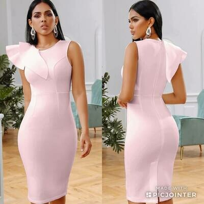 Pink ruffle scuba dress