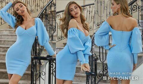 Medium ONLY ONE Baby Blue long sleeve bandage dress