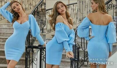 Medium ONLY ONE Baby Blue long sleeve bandage dress
