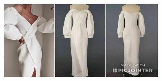Long sleeve White jersey dress