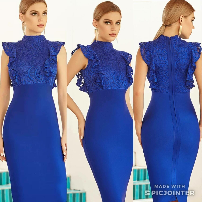 Lace front ruffle dress