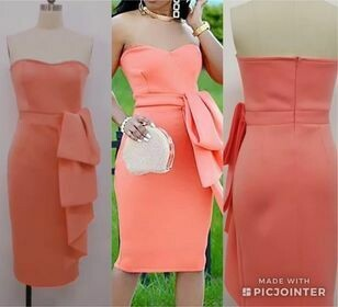 peach strapless ruffle dress