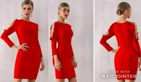 Red long sleeve bandage dress