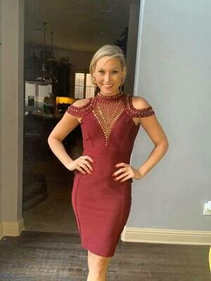 Maroon gold detail bandage dress