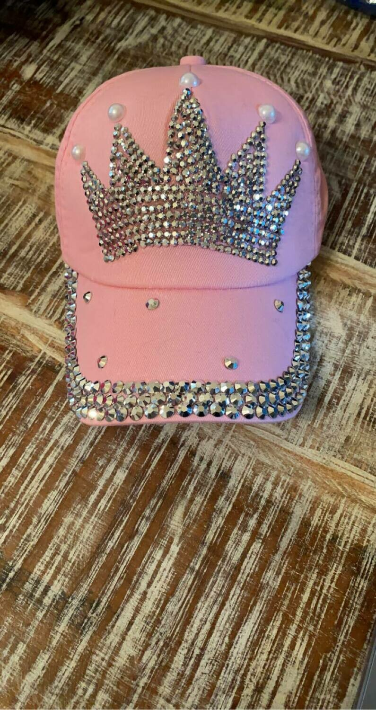 pale pink crown baseball cap