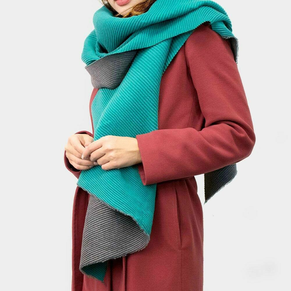 Turquoise and grey scarf