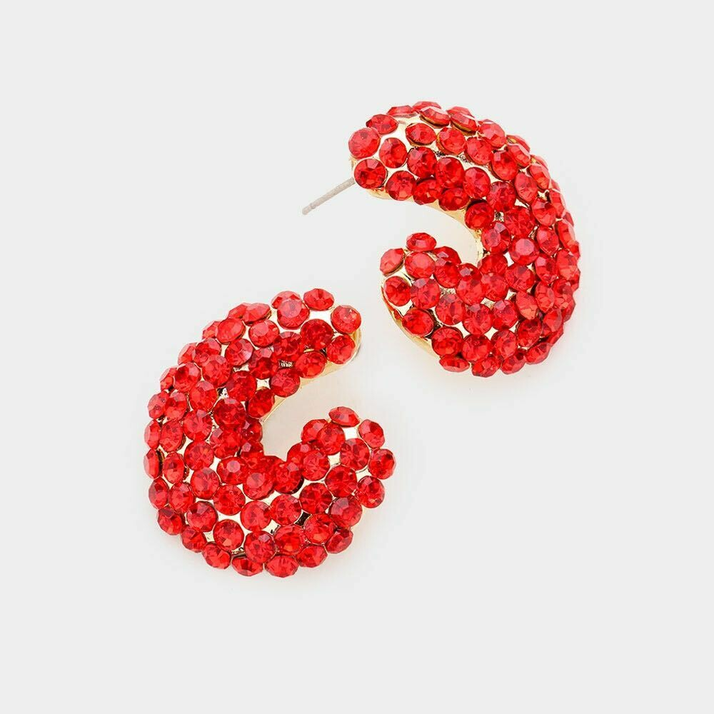 Red crystal evening stud