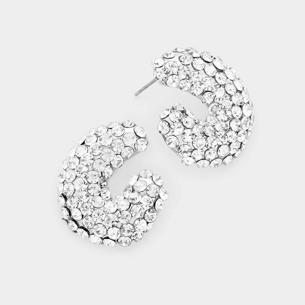 Silver crystal on silver base evening stud