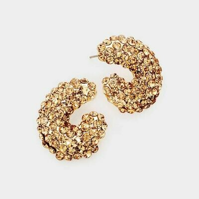 Gold crystal evening stud