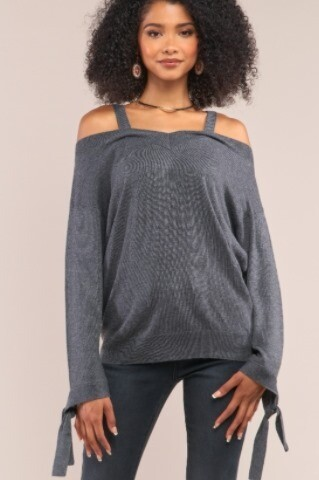 Grey knit sweater only one size xs/s