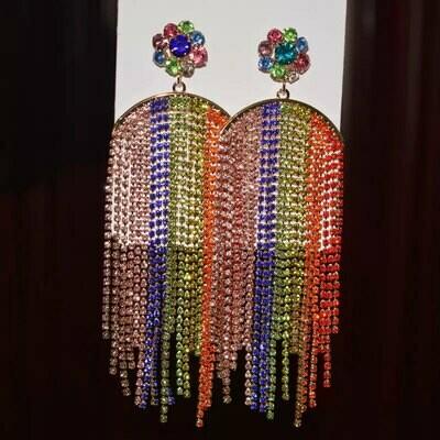multi color fringe earring