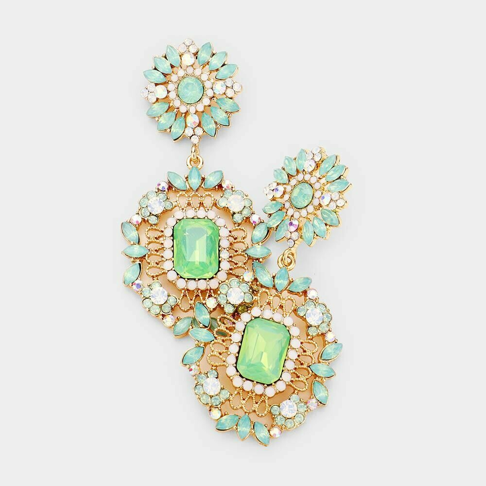 mint and white earring
