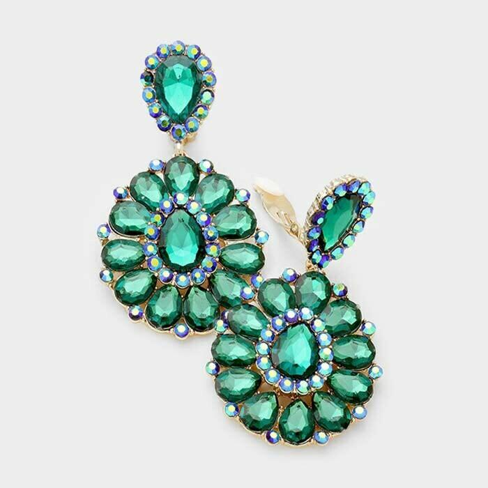 green clip on earring