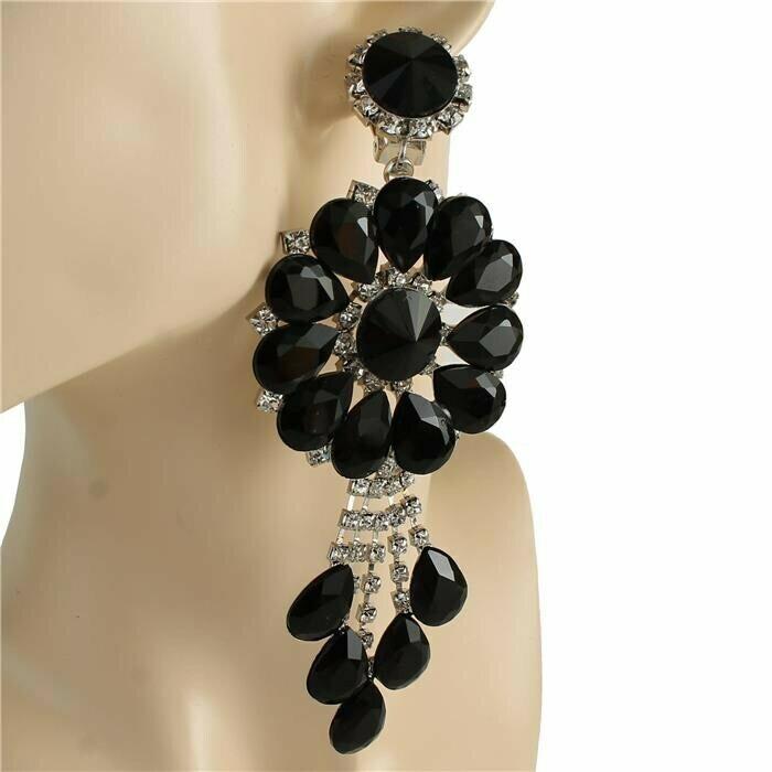 black flower clip on