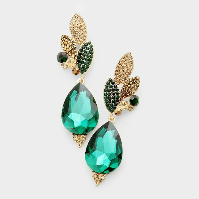 emerald and gold earring