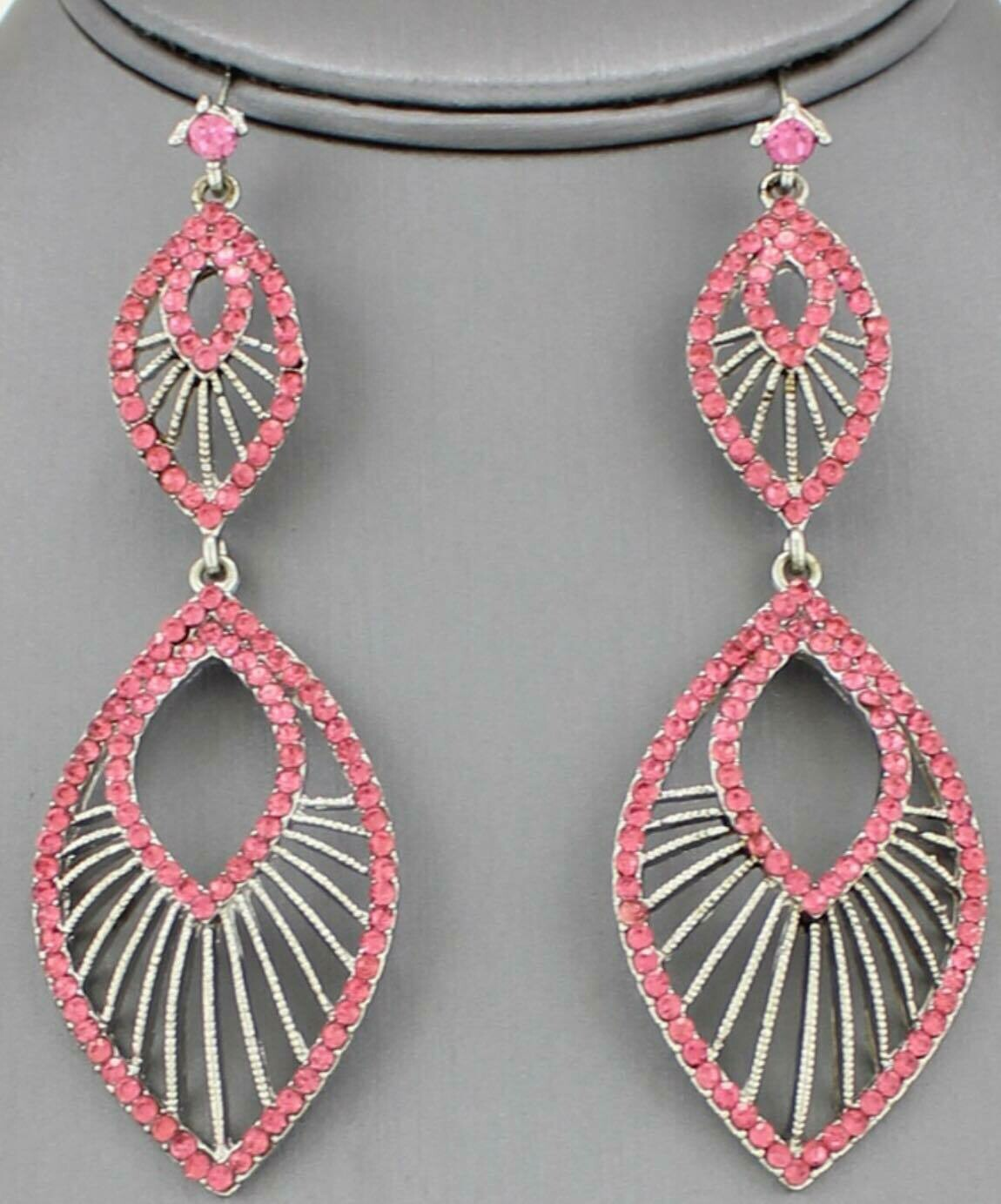pink and silver earring