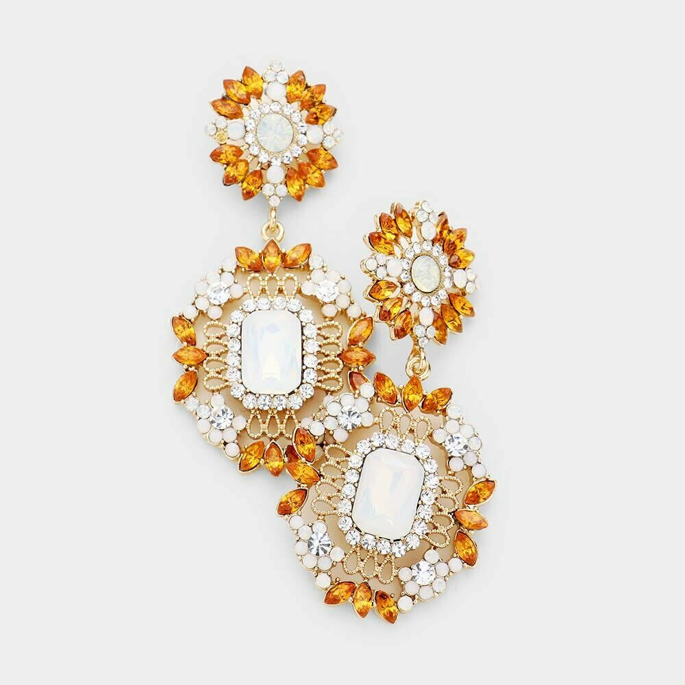amber and white earring