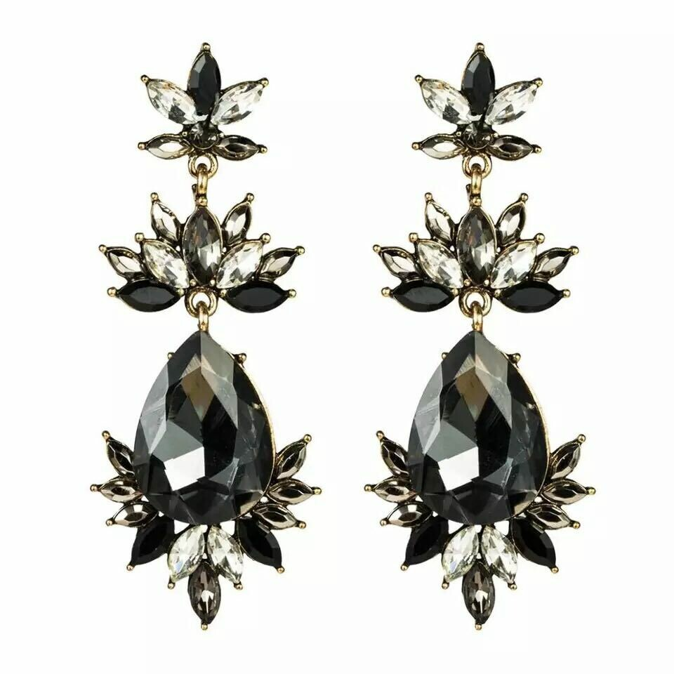 black and silver earring