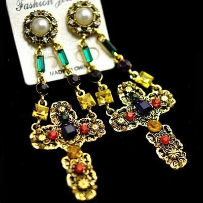 multi color cross earring