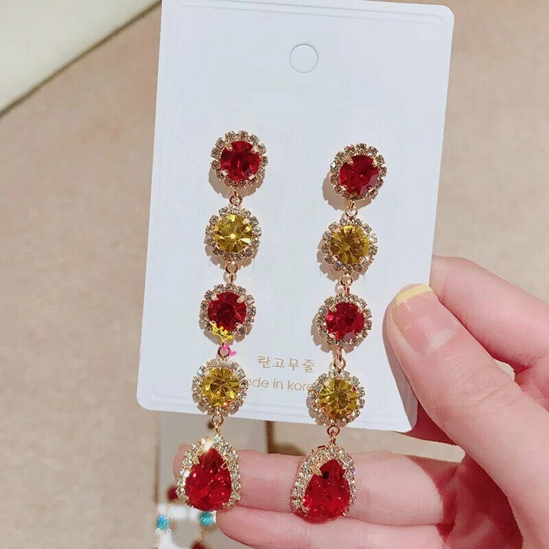 red and yellow earring