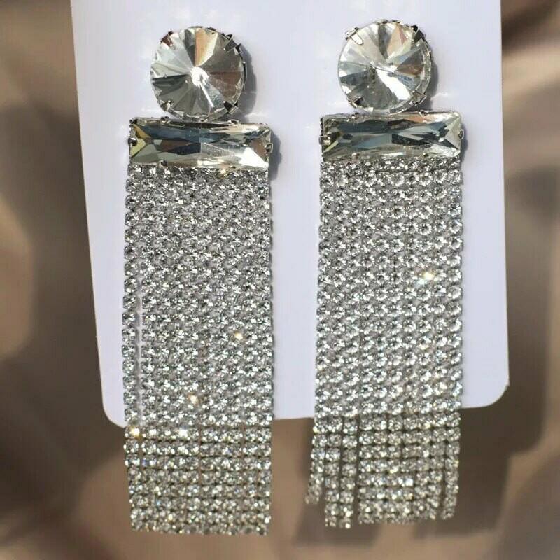silver fringe earring