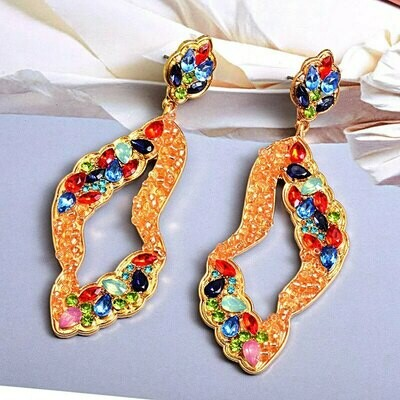 multi color geo earring