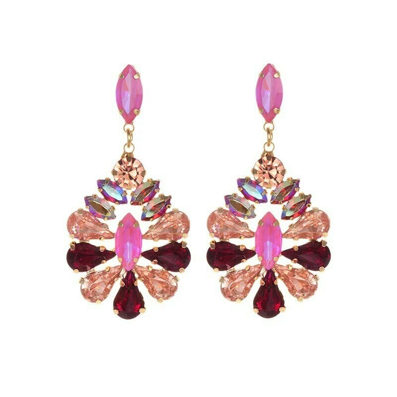 pink and gold earring