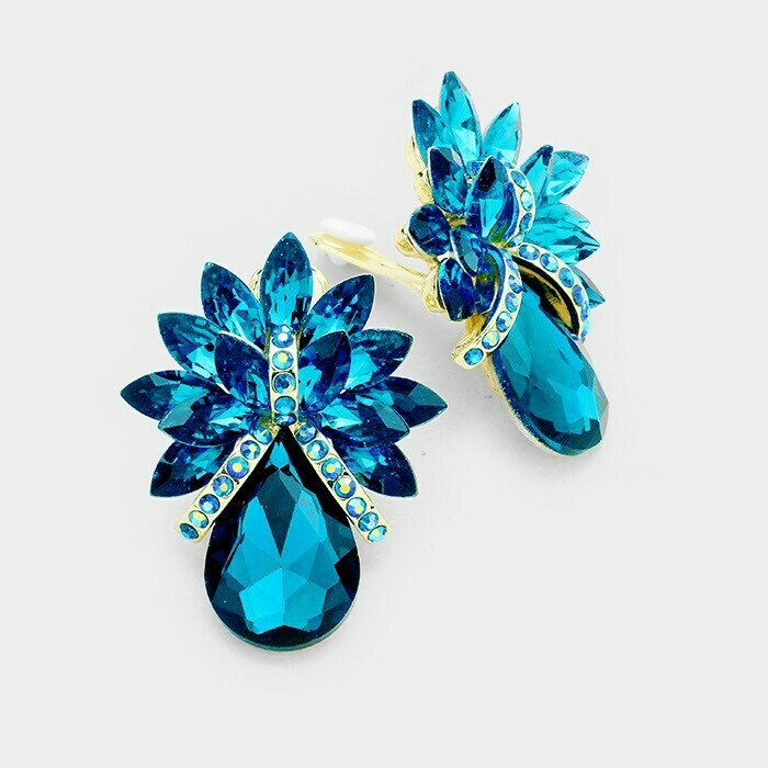 teal clip on earrings