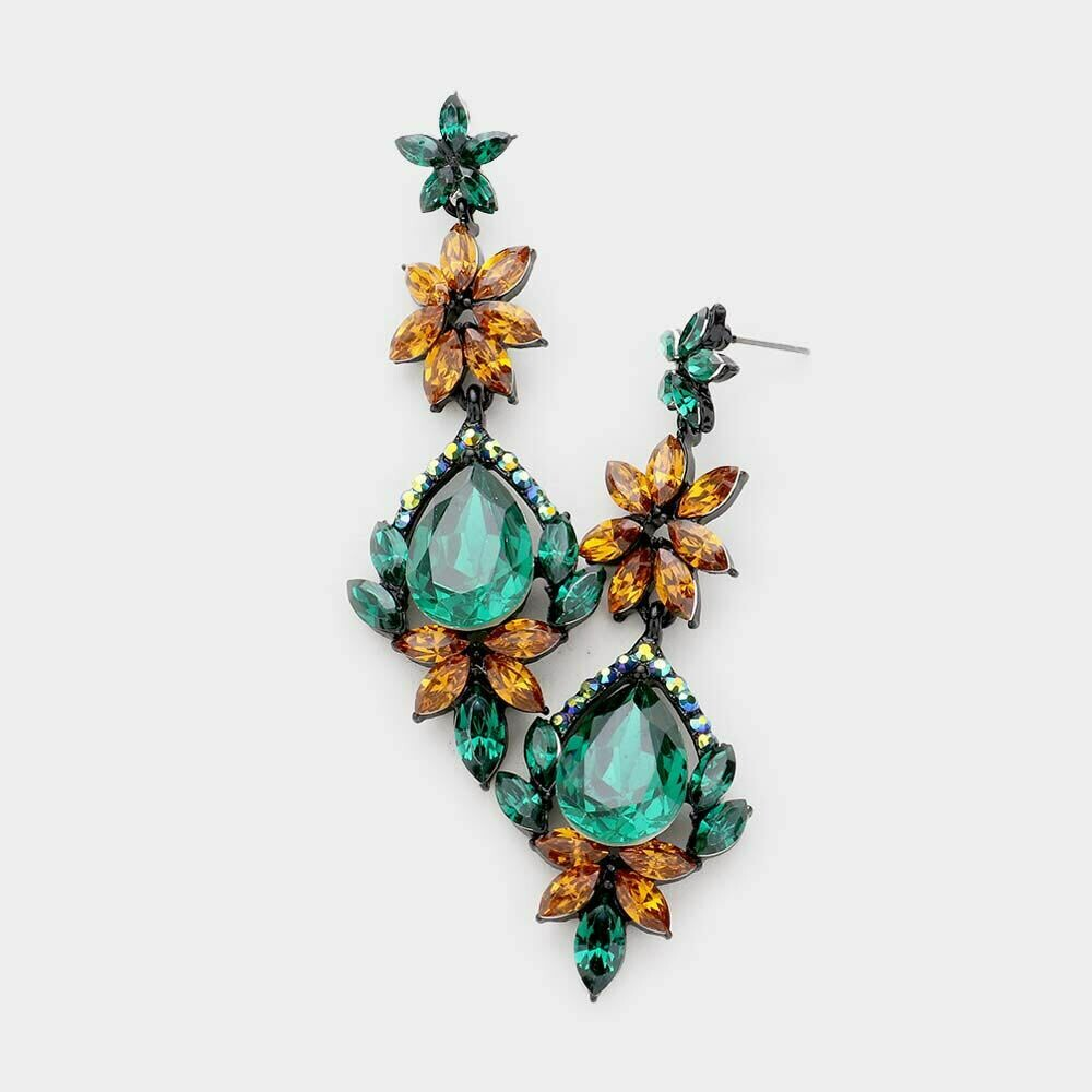 emerald and amber earring