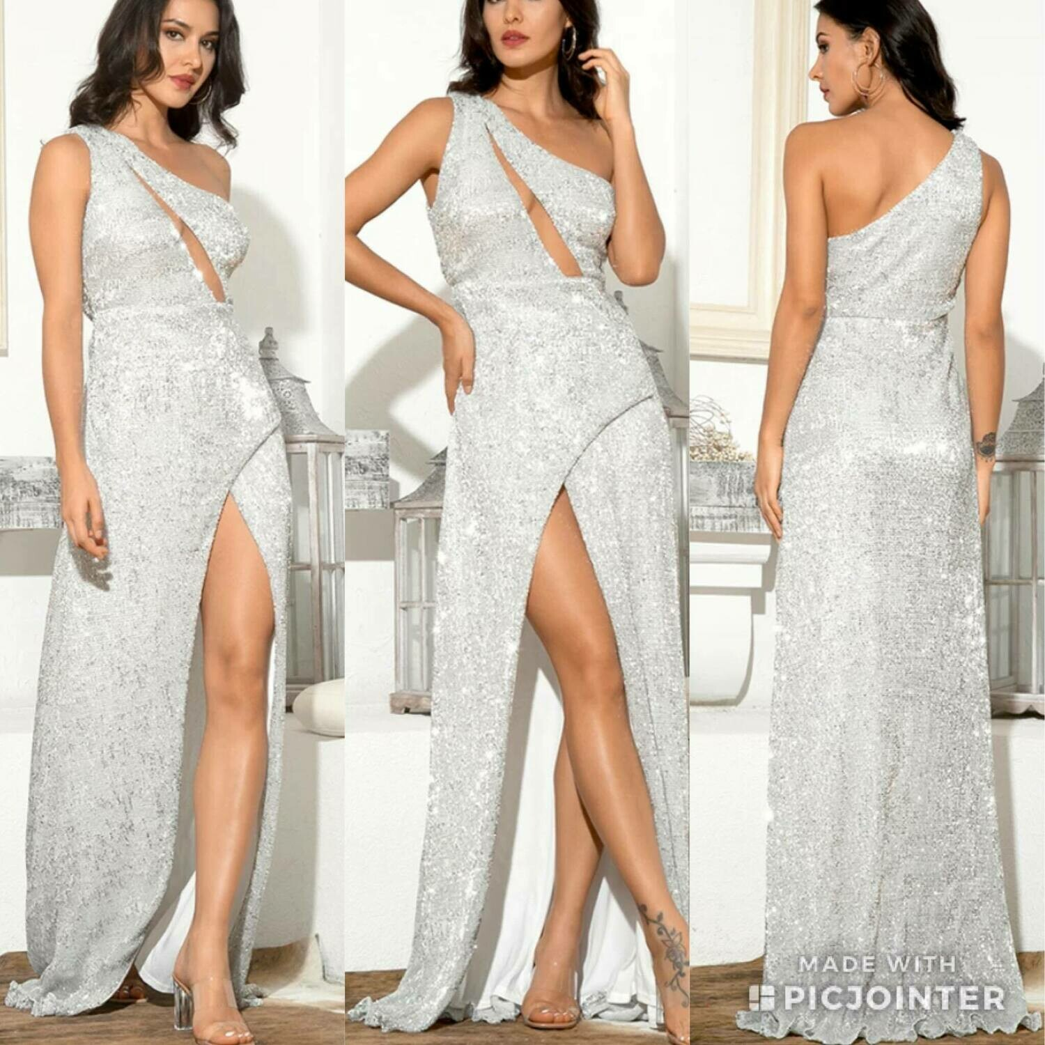 silver sequin dress with slit