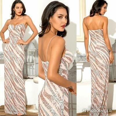 Pale pink sequin dress