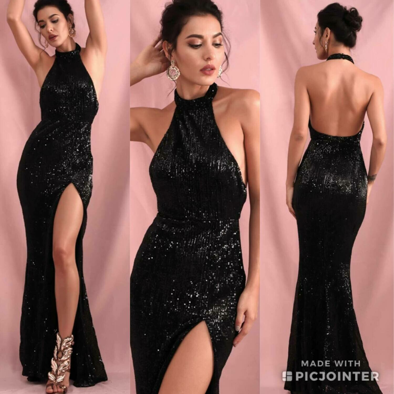 Sequin dress black with slit