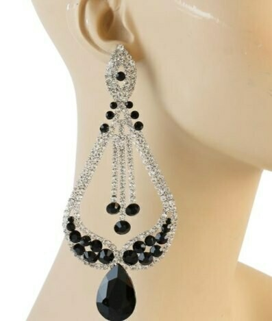black and silver pageant earring