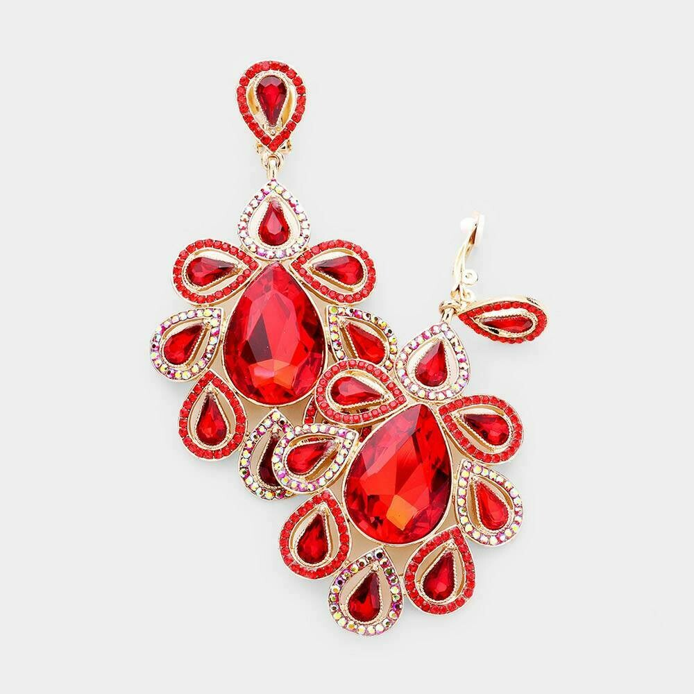red clip on earring