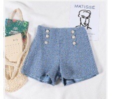 tweed blue shorts