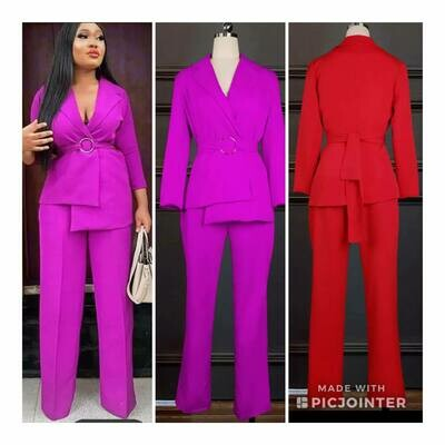 purple pant suit
