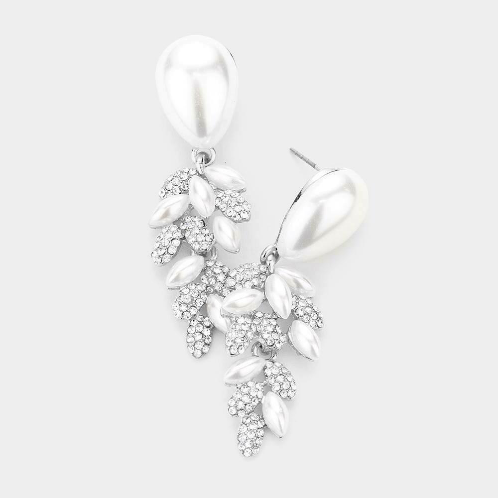 silver pearl earing