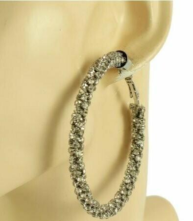silver long hoop