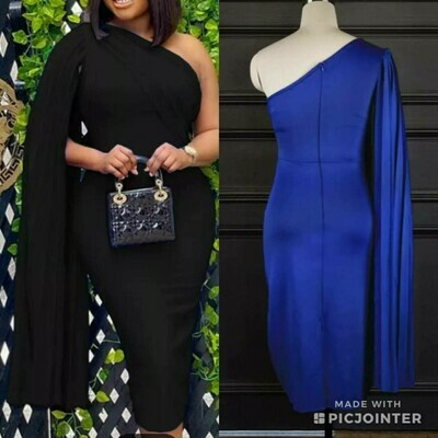 blue crepe flutter sleeve dress