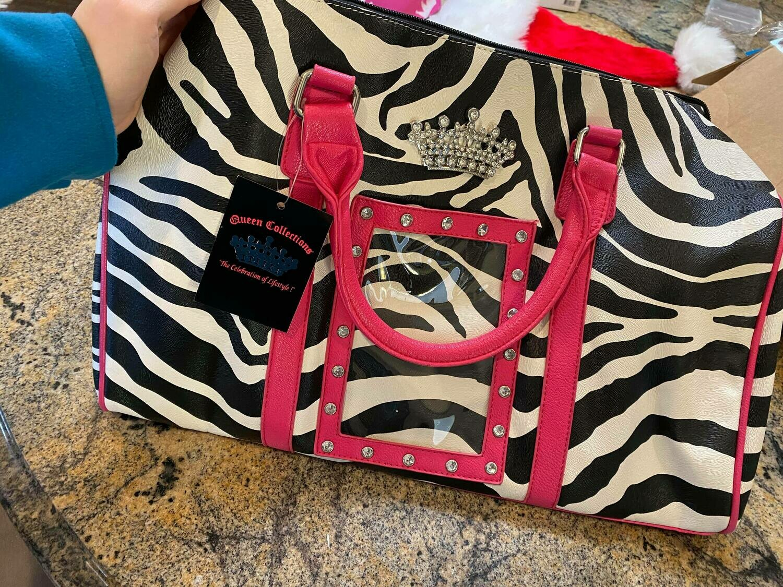 zebra tote bag pink