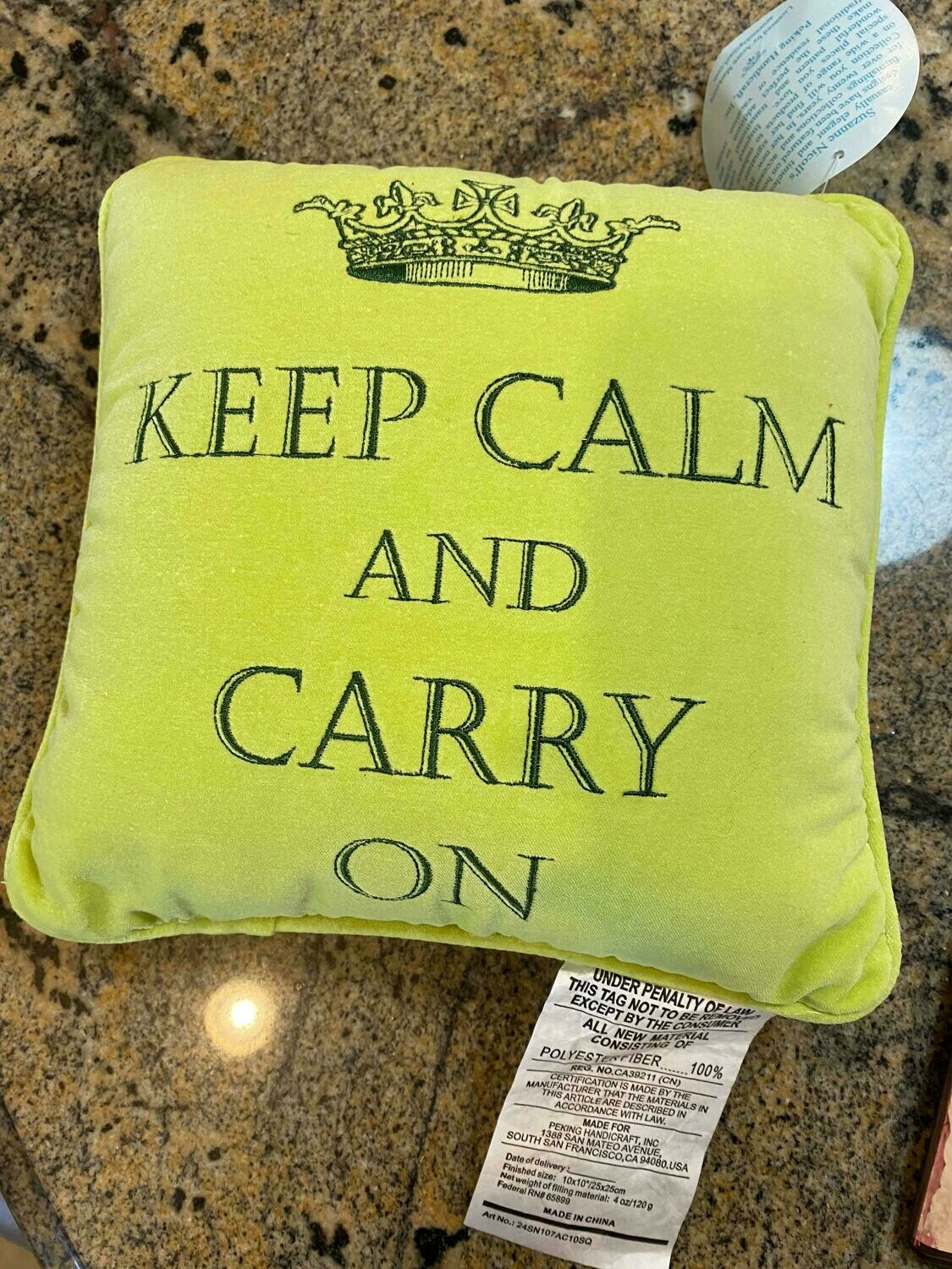 Green crown pillow ONLY ONE