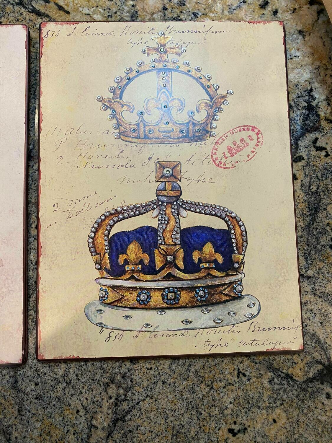 Tin crown wall sign Blue (2Left)